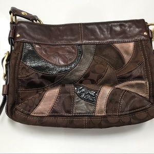 Coach Zoe Brown patchwork hobo bag